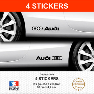 Stickers AUDI ANNEAUX Bas de Caisse Noir 4 Autocollants compatible A2 A3 A4 A5