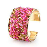 Lady's Gold Plated Natural Stone&Rhinestone Wide Open Cuff Bangle Bracelet Gift