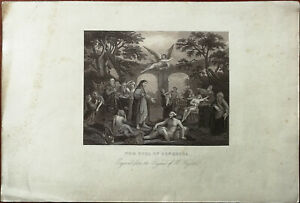 The Pool of Bethesda. Engraved from the Original of W. Hogarth Vintage Print