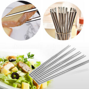 1/3/5 Pairs Reusable Long Chopsticks Metal Chinese Stainless Steel Chopsticks UK
