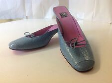 A A Milano Italy 37 1/4 Turquoise  Blue Leather Tie Slip on Thin Heel Pink Sole