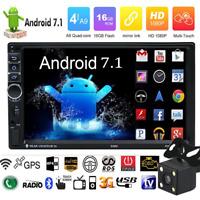 "Quad Core Android 7.1 WIFI 7""2DIN Radio De Coche Estéreo MP5 GPS Player+Cámara"