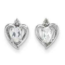14k White Gold Topaz Diamond Earring XBS452