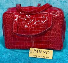 BUENO Faux Red Croc Travel Makeup Tote Bag W/ 3 Zippered Interior Bags NEW/Tags