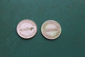 "2 x  Brass  Locker Token Tokens Gaming Coin HELMSMAN 23mm 0.9"" Bury St Edmunds"