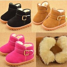 Baby Toddler Boys Girls Winter Suede Fur Lined Snow Boots Shoes UK Size 4.5-7.5