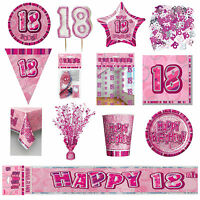 Glitz Pink 18th Birthday Party Tableware Decoration Plates Banners Candle Age 18