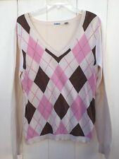 Izod womens size Large sweater. Ivory/pink argyle pattern. long sleeve. v neck