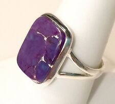 Royal Purple Copper Turquoise Solid Sterling Silver Ring 5.1g Size 9