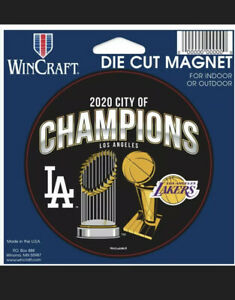 """Los Angeles Dodgers and Lakers 2020 City of Champions 4.5"""" x 6"""" Magnet"""