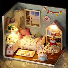 Cute DIY Doll House Miniature Kit Dustproof LED Dollhouse Cabin Christmas Gift