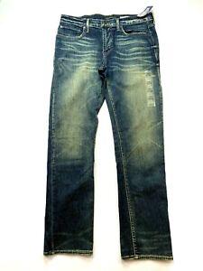 AEROPOSTALE Slim Straight Jeans Mens Dark Blue Stretchable Pants Size 32/32 BNWT