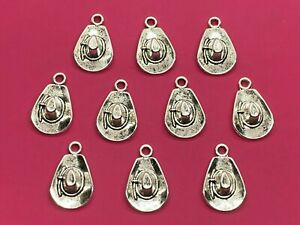 Tibetan Silver Cowboy Hat Charms - 10 per pack