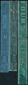 U.S.A., CLASSIC UNCHECKED LOT OF 3 DIFF. USED TOBACCO CIGARS REVENUES TAX. #K303