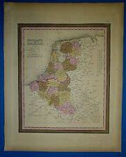 1849 S A Mitchell New Universal Atlas Map ~ HOLLAND - BELGIUM ~ Old Authentic