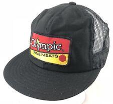 Vtg 80s Mesh Trucker Hat Snapback Patch Cap Olympic Fine Meats Food Company USA