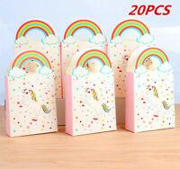 20X Unicorn Party Bag Loot Bags Kids Birthday Favor Gift Treat Children Box Fun