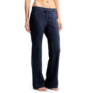 ATHLETA Solid Navy Blue LINEN WIDE-LEG PANT Drawstring Pull-On Pants M 10