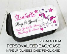 Personalised Make up Bag Pencil DS Case Glasses Unicorn Birthday Gift Present