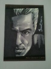 BUFFY ANGEL SPIKE HAND DRAWN SKETCH CARD BY JONATHAN D GORDON ORIGINAL ART PSC