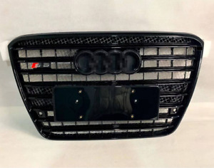 For Audi A8 D4 S8 black Front Grille Upper Chrome Honeycomb Radiator Grill