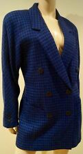 ESCADA BY MARGARETHA LEY Blue & Black Dogtooth Pattern Blazer Jacket 38 UK10