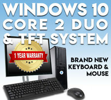 FULL DELL CORE 2 DUO DESKTOP TOWER PC & TFT COMPUTER SYSTEM WINDOWS 10 & 4GB
