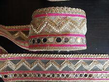Espejo de Oro Rosa asiático indio Boda de encaje traje de baile Apliques de cristal de la cinta