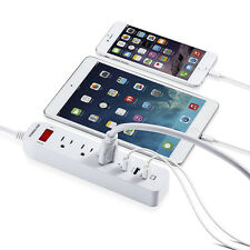 3 Outlet Power Strip Surge Protector With 3 USB Port Wall Charger Lightningproof