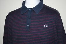 Fred Perry Navy Blue/Maroon Textured Yarn Knitted Striped Polo Shirt XXL Mod Top