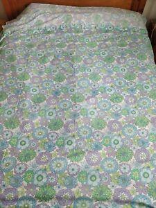 Vintage Retro Blue Purple Green Floral Flower Print Flat Bed Sheet Fabric