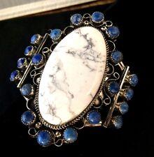 Navajo Silver and White Buffalo Turquoise Bracelet/Cuff Lapis Signed ZEK*ST530