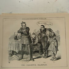 """7x10"""" punch cartoon 1862 TWO FRIGHTFUL EXAMPLES king of prussia , bomba , otho"""