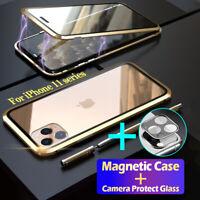 COVER per iPhone 11 Pro Max CUSTODIA MAGNETICA VETRO TEMPERATO+ Vetro Fotocamera