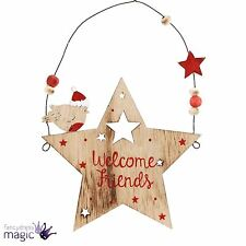 Wooden Welcome Friends Christmas Robin Star Hanging Xmas Decoration Sign Plaque
