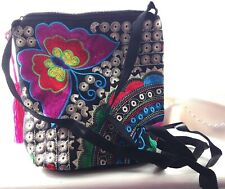 Black Canvas Cross Body Green Pink Tan Red Silk Embroidered Butterfly Handbag