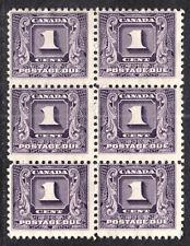 CANADA POSTAGE DUE #J6 1c DARK VIOLET, 1930 BLOCK/6, F, MINT NO GUM