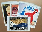 Lot of 5 Assorted Canvas Prints Travel Food Art Vintage Poster Retro Style (CS5A