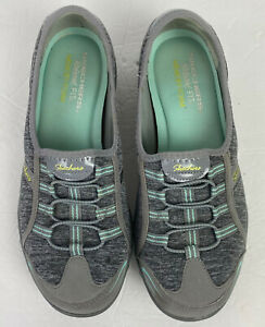 Skechers Womens Relaxed Fit Memory Foam Slip On Shoes Gray Size 8