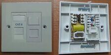 2 Gang Faceplate RJ45 Data Network Cat 6 & BT Voice Master Socket Module not 5e