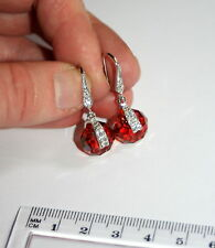 Austrian Red Magma spinning crystal silver pave drop bridesmaid bride earrings