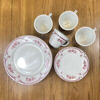 Shenango China Restaurant Ware 12-Piece Set Chardon Rose Red Vintage Rare USA D