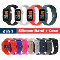 40/44mm Silicone Sport Band Strap+Protect Case for Apple Watch Series 6 5 4 3 SE