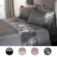 Modern Crushed Velvet Panel Duvet Cover with Pillow Case Bedding Set Silver Grey