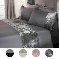 Modern Crushed Velvet Panel Duvet Cover with Pillow Case Bedding Set Silver Grey