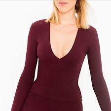 NWT American Apparel Venture Top Size M Medium Burgandy Port Royale Plunge