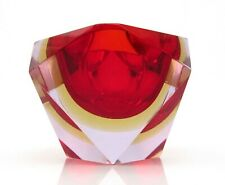 Superb 1960s Murano Sommerso Alexandrite Faceted Diamond Prism Block Bowl