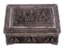 Superb Antique Burmese Silver Rectangular Table Box. 19th C.