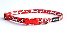 "COASTAL-LI'L PALS NYLON ADJ. 5/16"" x 8-12"" PATTERNED RED,WHITE BONES DOG COLLAR"