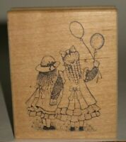 """Great Impressions Rubber Stamp Victorian Little Girls Balloons 2.5"""" x 3.25"""""""
